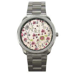 Pink Whimsical flowers on beige Sport Metal Watch