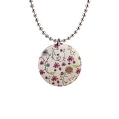 Pink Whimsical flowers on beige Button Necklace