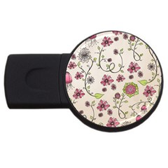 Pink Whimsical flowers on beige 4GB USB Flash Drive (Round)