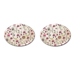 Pink Whimsical Flowers On Beige Cufflinks (oval)