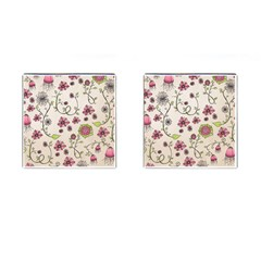 Pink Whimsical flowers on beige Cufflinks (Square)