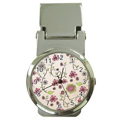 Pink Whimsical flowers on beige Money Clip with Watch