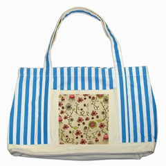 Pink Whimsical Flowers On Beige Blue Striped Tote Bag