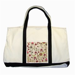 Pink Whimsical Flowers On Beige Two Toned Tote Bag