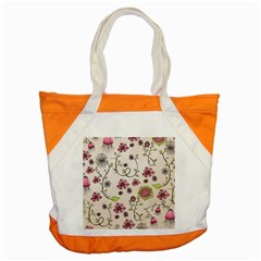 Pink Whimsical flowers on beige Accent Tote Bag