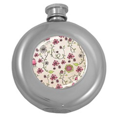 Pink Whimsical flowers on beige Hip Flask (Round)