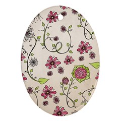 Pink Whimsical flowers on beige Oval Ornament (Two Sides)