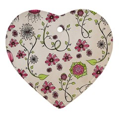 Pink Whimsical flowers on beige Heart Ornament (Two Sides)