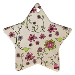 Pink Whimsical flowers on beige Star Ornament (Two Sides)
