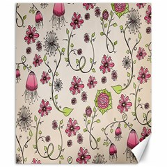 Pink Whimsical flowers on beige Canvas 8  x 10  (Unframed)