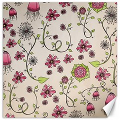 Pink Whimsical Flowers On Beige Canvas 20  X 20  (unframed)