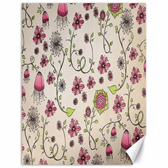 Pink Whimsical flowers on beige Canvas 18  x 24  (Unframed)