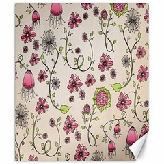 Pink Whimsical flowers on beige Canvas 20  x 24  (Unframed)