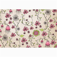 Pink Whimsical flowers on beige Canvas 20  x 30  (Unframed)