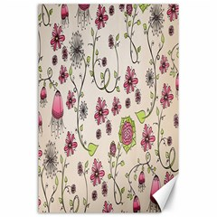 Pink Whimsical flowers on beige Canvas 24  x 36  (Unframed)