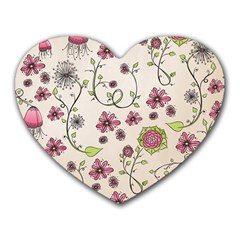 Pink Whimsical flowers on beige Mouse Pad (Heart)