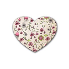 Pink Whimsical flowers on beige Drink Coasters (Heart)