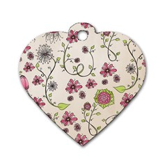 Pink Whimsical flowers on beige Dog Tag Heart (Two Sided)