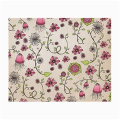 Pink Whimsical flowers on beige Glasses Cloth (Small, Two Sided)