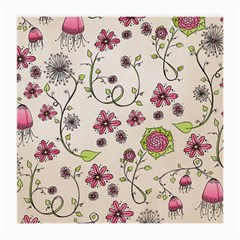 Pink Whimsical flowers on beige Glasses Cloth (Medium, Two Sided)