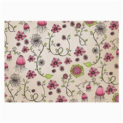 Pink Whimsical flowers on beige Glasses Cloth (Large, Two Sided)