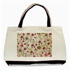 Pink Whimsical flowers on beige Twin-sided Black Tote Bag