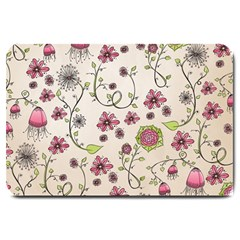 Pink Whimsical flowers on beige Large Door Mat