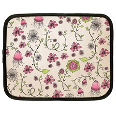 Pink Whimsical Flowers On Beige Netbook Sleeve (large)