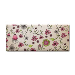 Pink Whimsical flowers on beige Hand Towel