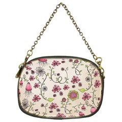 Pink Whimsical Flowers On Beige Chain Purse (two Sided)
