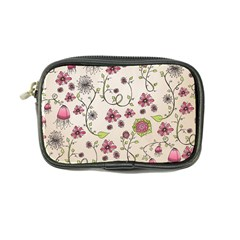 Pink Whimsical flowers on beige Coin Purse