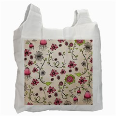 Pink Whimsical flowers on beige White Reusable Bag (One Side)