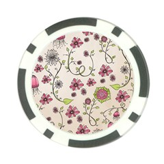 Pink Whimsical flowers on beige Poker Chip (10 Pack)