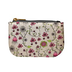 Pink Whimsical flowers on beige Coin Change Purse