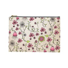 Pink Whimsical flowers on beige Cosmetic Bag (Large)