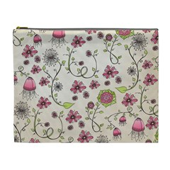 Pink Whimsical flowers on beige Cosmetic Bag (XL)