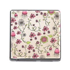 Pink Whimsical Flowers On Beige Memory Card Reader With Storage (square)