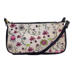 Pink Whimsical flowers on beige Evening Bag