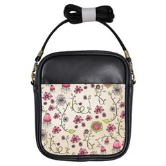 Pink Whimsical Flowers On Beige Girl s Sling Bag