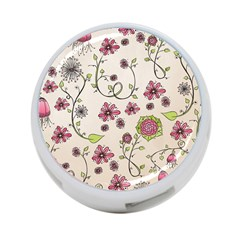 Pink Whimsical Flowers On Beige 4 Port Usb Hub (one Side)