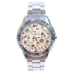 Pink Whimsical Flowers On Beige Stainless Steel Watch