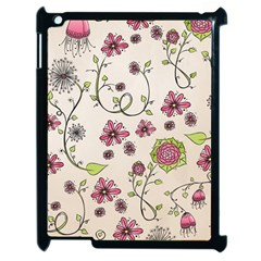 Pink Whimsical flowers on beige Apple iPad 2 Case (Black)
