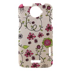Pink Whimsical flowers on beige HTC One X Hardshell Case