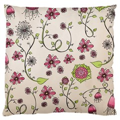 Pink Whimsical Flowers On Beige Large Cushion Case (two Sided)