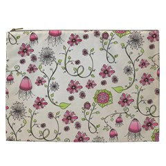 Pink Whimsical flowers on beige Cosmetic Bag (XXL)