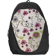 Pink Whimsical Flowers On Beige Backpack Bag
