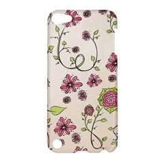Pink Whimsical Flowers On Beige Apple Ipod Touch 5 Hardshell Case
