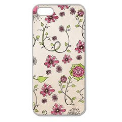 Pink Whimsical Flowers On Beige Apple Seamless Iphone 5 Case (clear)