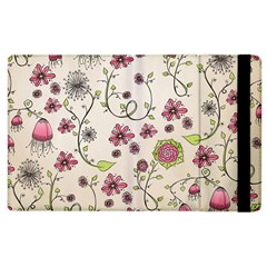 Pink Whimsical flowers on beige Apple iPad 2 Flip Case