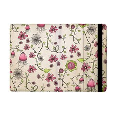 Pink Whimsical flowers on beige Apple iPad Mini Flip Case